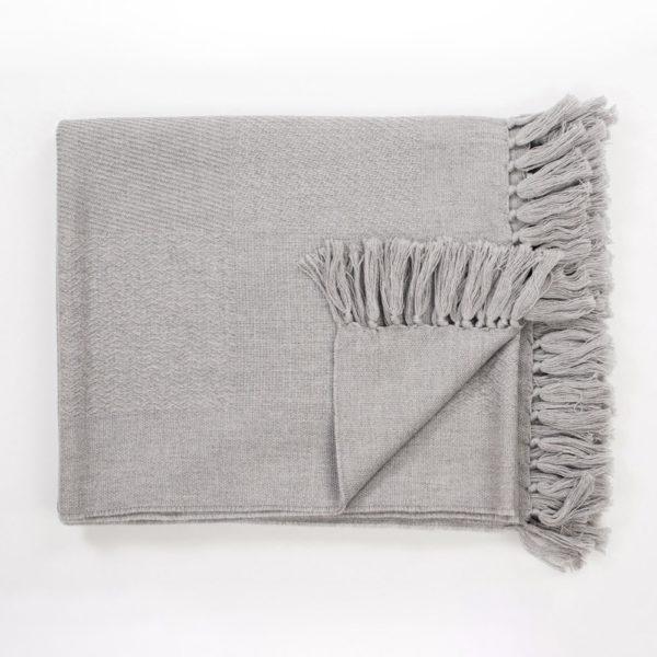 Intreccio Pure wool fringed knit blanket