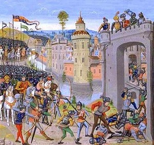 Henry V lays siege on Harfleur