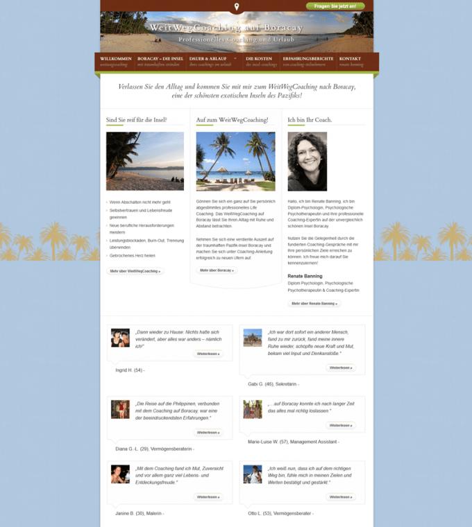 Screenshot der Webseite WeitWegCoaching