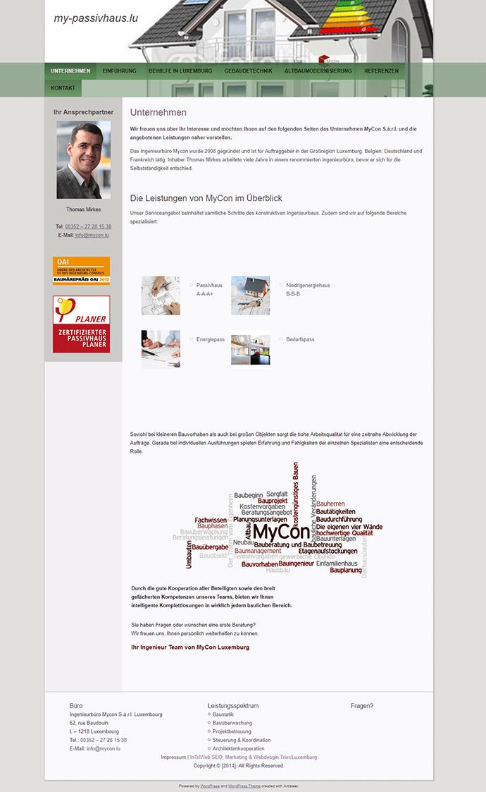 Screenshot der Webseite my-passivhaus