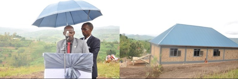 Nsabimana Fabien hamwe n'inzu y'urwibutso rw'abazize Jenoside yakorewe abatutsi.