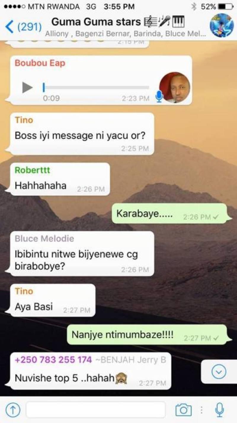 Ubutumwa Mushyoma yohereje ku rubuga rwa Whatsapp ruhuza abahanzi n'abategura PGGSS6