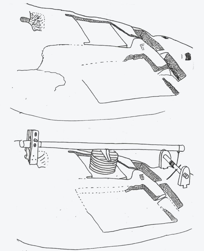 Fig. 1 : Plan et restitution de l'huilerie taillée dans le roc d'El ma Ouguelmine. A. Les vestiges ; B. Restitution de l'appareillage. Dessins J.-P. Laporte