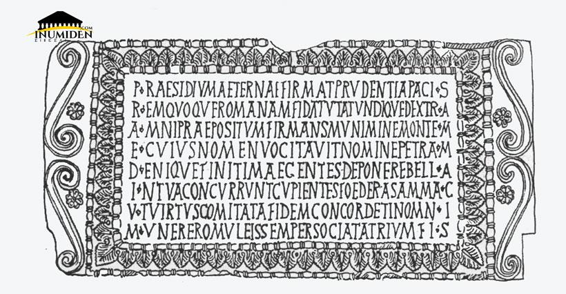 La dédicace du praedium/praesidium de Sammac à M'Iakou Au Musée d'Alger. Dessin J.-P. Laporte