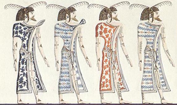 Dessin d'une peinture du tombeau de Séthi Ier (1290- 1279) de la XIXe dynastie. Cette peinture représente des prisonniers Lebous (berbères) avec leurs tatouages et leurs cheveux tressés dans la tombe de Séthi Ier.