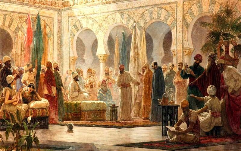 Le calife Abd al-Rahman III recevant l'Ambassadeur. Musée : UNIVERSIDAD DE BARCELONA. Auteur : Baixeras Verdaguer, Dionisio.