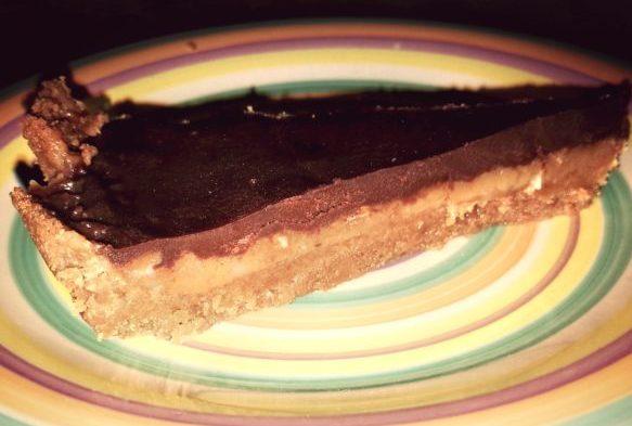 Torta al caramello salato e cioccolato fondente all'arancia