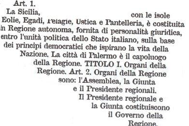 Quello che lo Statuto siciliano non dice
