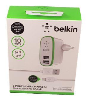 Cargador Belkin con 2 puertos USB más cable Lightning. Foto de caja1