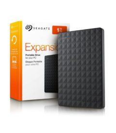 Disco externo Seagate Expansion 1TB. Foto de caja y disco