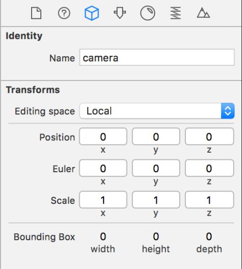 Figure 4. Camera settings in SceneKit Editor.