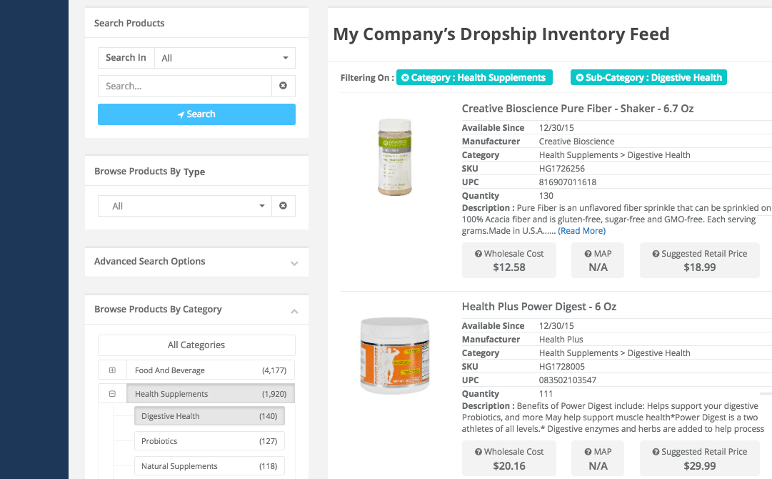 drop ship vendor feed example