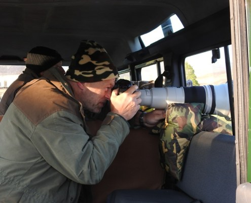 Landrover becomes a mobile hide to photograph Black Grouse