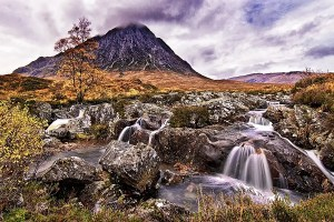 Mountain and waterfall at Buachaille Etive Mor