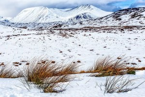 Snow covered mountains at Glencoe