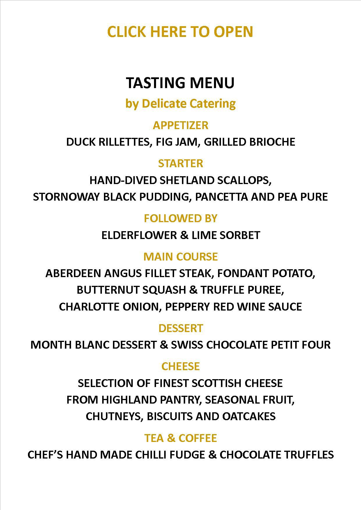 Tasting Menu Delicate Catering Westhill Inverness