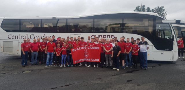 @BlazingLambs - Joint bus with Gothenburg Reds, pit stop in Hamilton. Next stop Burnley #StandFree #COYR