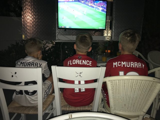 @jflorence23 - Boys watching dons in Kos, doing well so far #COYR