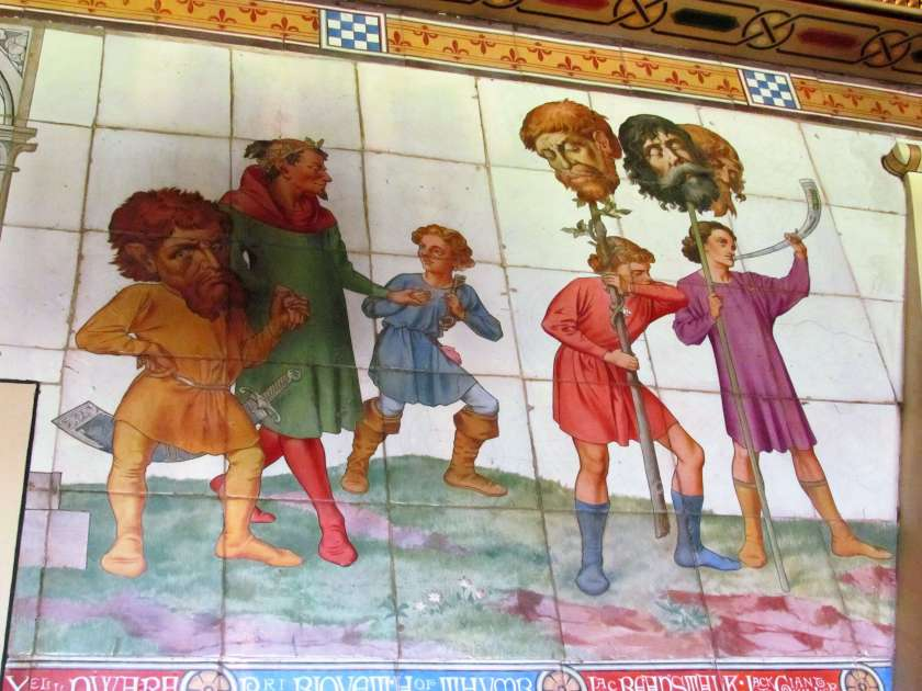 Cardiff Castle - decapitated giants' heads as wall mural