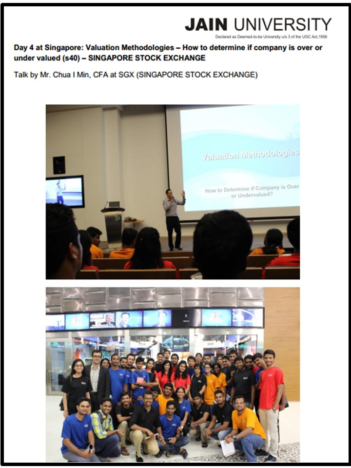 Presented to a Group of India Students for their Study trip in Singapore