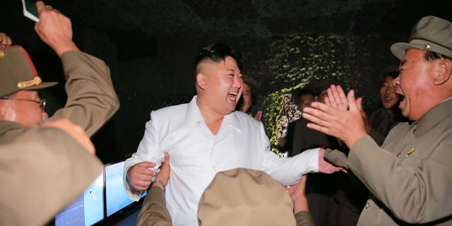 "This undated picture released from North Korea's official Korean Central News Agency (KCNA) on August 25, 2016 shows North Korean leader Kim Jong-Un (C) laughing as he inspects a test-fire of strategic submarine-launched ballistic missile at an undisclosed location. / AFP PHOTO / KCNA / KNS / South Korea OUT / REPUBLIC OF KOREA OUT / SOUTH KOREA OUT ---EDITORS NOTE--- RESTRICTED TO EDITORIAL USE - MANDATORY CREDIT ""AFP PHOTO/KCNA VIA KNS"" - NO MARKETING NO ADVERTISING CAMPAIGNS - DISTRIBUTED AS A SERVICE TO CLIENTS THIS PICTURE WAS MADE AVAILABLE BY A THIRD PARTY. AFP CAN NOT INDEPENDENTLY VERIFY THE AUTHENTICITY, LOCATION, DATE AND CONTENT OF THIS IMAGE. THIS PHOTO IS DISTRIBUTED EXACTLY AS RECEIVED BY AFP. /"