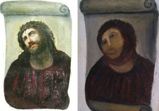 El Ecce Homo de Borja, antes y después de la intervención