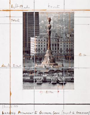 Cristo y Jean Claude: Boceto para envolver la estatua de Colón, Barcelona.