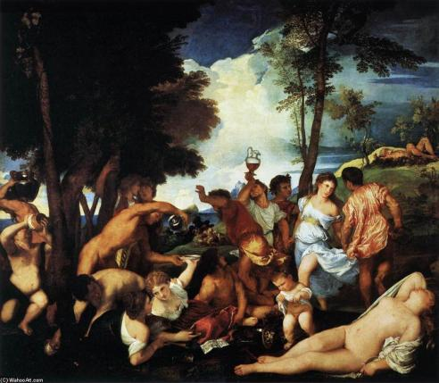 Tiziano: Bacanal (ejemplo de pintura al óleo)