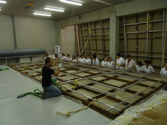 Levantamiento con poleas de las pinturas del Palacio Ducal de Gandía (foto UPV)