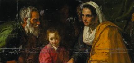 """Detalle de la parte superior de """"La educación de la Virgen"""""""
