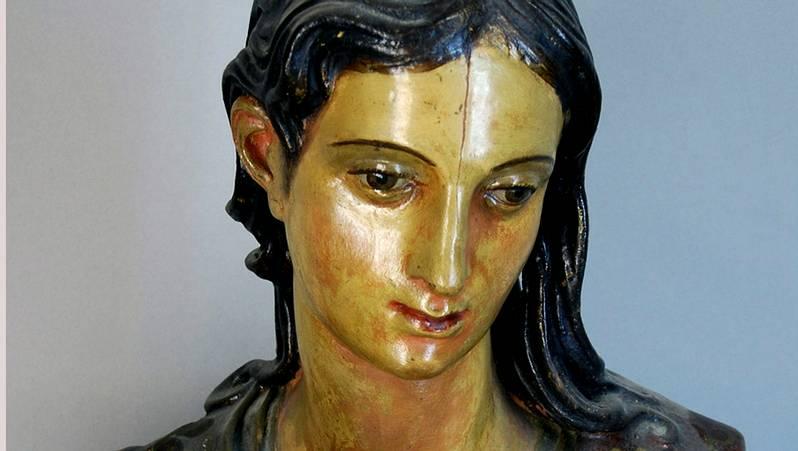 Detalle del rostro de San Juan Evangelista