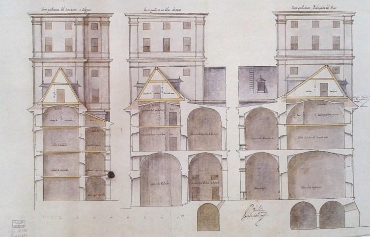 Bartolomé Zúmbigo: Dibujo para la reconstrucción de las techumbres de El Escorial. Archivo Histórico Nacional.