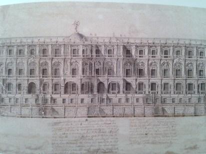 Pedro de Ribera: Alzado de la fachada que mira al parque.
