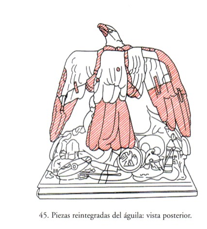 Esquemas de los daños y restauraciones de La Apoteosis de Claudio. Publicado por Bertolín y Gómez García (2002), pp. 65-66, figs. 44 y 45.