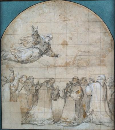 Vicente Carducho: La Virgen María y San Pedro se aparecen a los primeros cartujos, 1626-1632. Lápiz negro, aguadas de tinta gris y parda y realces de albayalde sobre papel verjurado, 300 x 260 mm. Zaragoza, Colección Félix Palacios Remondo.