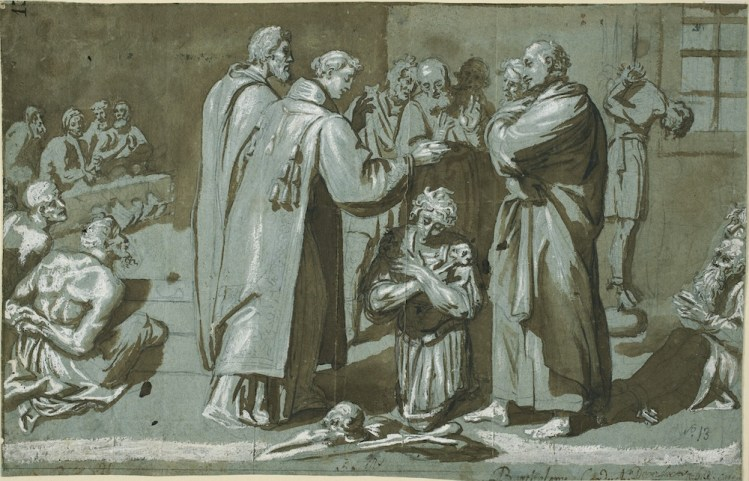 Bartolomé Carducho: San Lorenzo bautizando a unos encarcelados, ca. 1589. Lápiz negro, aguada de tinta parda y realces de albayalde sobre papel azul verjurado, 220 x 345 mm. Madrid, Museo Nacional del Prado, D-0008.