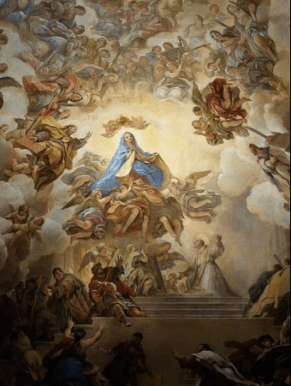 "Luca Giordano: Detalle de la Bóveda de la Sacristía de la Catedral de Toledo ""La Virgen entrega la túnica a San Ildefonso""."