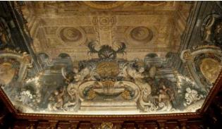 Antonio Palomino: Detalle de las arquitecturas fingidas en la bóveda del Salón de Plenos de la Casa de la Villa de Madrid.