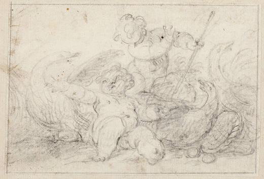 Francisco Ignacio Ruiz de la Iglesia: Dibujo de Niños y aves. Madrid, Museo Nacional del Prado.