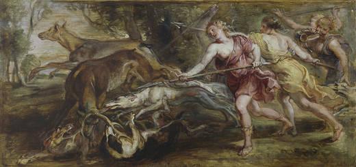 Pedro Pablo Rubens: Diana y sus ninfas cazando. Óleo sobre tabla. 27,7x58 cm. Madrid, Museo Nacional del Prado.
