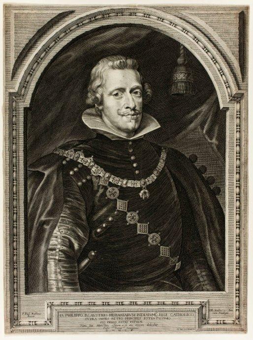 Paulus Pontius siguiendo a Rubens: Retrato de Felipe IV. Grabado. 1632.