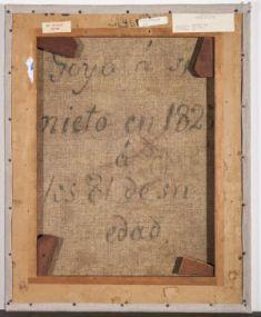 Francisco de Goya: Trasera del lienzo del Retrato de Mariano Goya. Dallas, Meadows Museum.