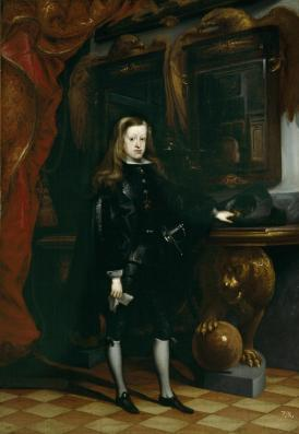 Juan Carreño de Miranda: Carlos II en el Salón de los Espejos del Alcázar de Madrid, 1675. Madrid, Museo Nacional del Prado.