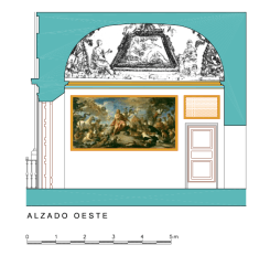 Alzado Oeste del Despacho del Rey en el Palacio Real de Aranjuez.