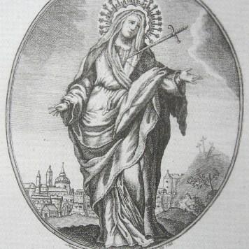Virgen de los Dolores. Estampa de Tomás Solares. 1792.