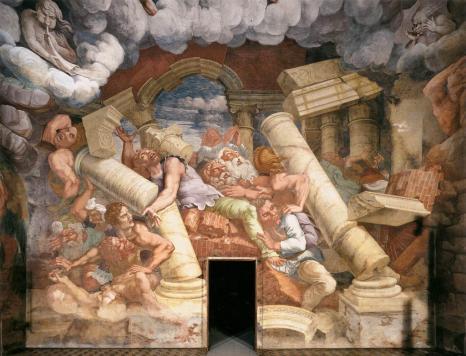 Giulio Romano: Caída de los Gigantes. Fresco Palazzo del Te. Mantua.