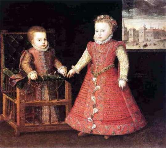 Alonso Sánchez Coello: Las infantas Isabel Clara Eugenia y Catalina Micaela. Madrid, Monasterio de las Descalzas Reales.