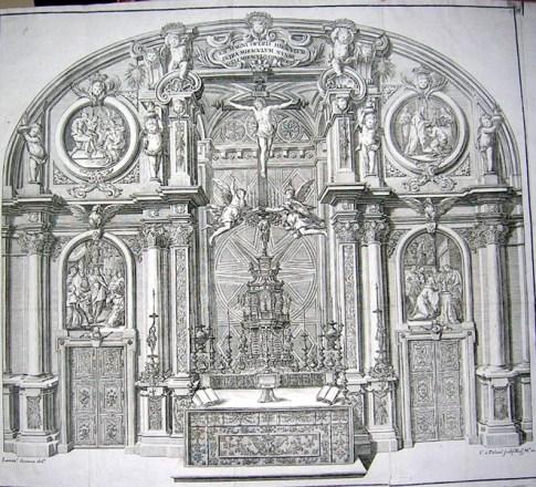 Estampa del retablo de la Sagrada Forma de la sacristía de El Escorial con el Crucificado de Pietro Tacca.