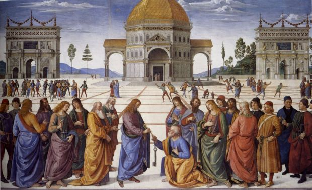 Pietro Perugino: Jesús entrega las llaves a San Pedro, 1481-1482. Capilla Sixtina, Roma.