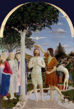 Piero della Francesca: El Bautismo de Cristo. National Gallery, Londres.